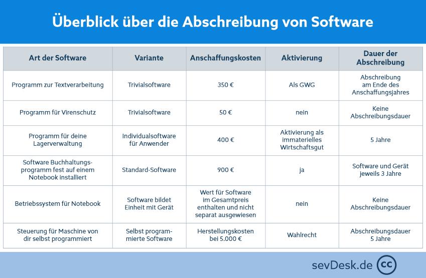 Überblick Abschreibung von Software